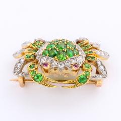 Edwardian Demantoid Garnet and Diamond Crab Brooch - 991863