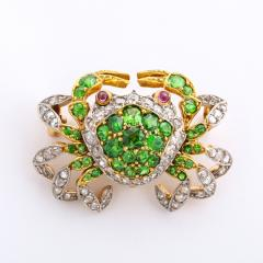 Edwardian Demantoid Garnet and Diamond Crab Brooch - 991874