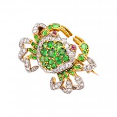 Edwardian Demantoid Garnet and Diamond Crab Brooch - 992157