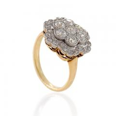 Edwardian Diamond Platinum and Gold Cluster Ring - 718033