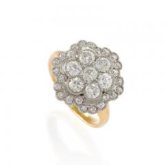 Edwardian Diamond Platinum and Gold Cluster Ring - 718034