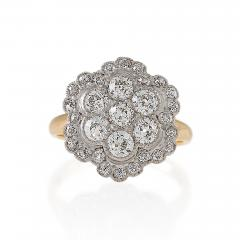 Edwardian Diamond Platinum and Gold Cluster Ring - 718869