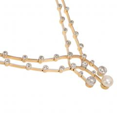 Edwardian Diamond and Pearl Knife Edge Necklace Wearable in Two Lengths - 1224273