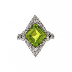 Edwardian Gold and Platinum Peridot Ring - 934969