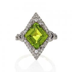 Edwardian Gold and Platinum Peridot Ring - 934973