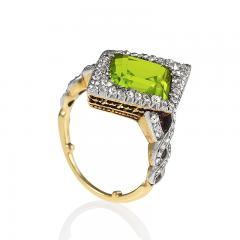 Edwardian Gold and Platinum Peridot Ring - 1099764