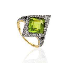 Edwardian Gold and Platinum Peridot Ring - 1099765