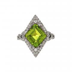 Edwardian Gold and Platinum Peridot Ring - 1100506