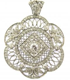 Edwardian Old Mine Cut Diamond and Platinum Pendant Necklace - 178556