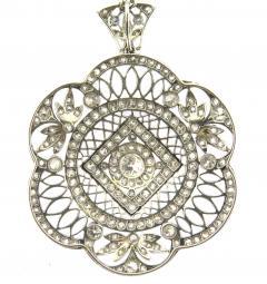 Edwardian Old Mine Cut Diamond and Platinum Pendant Necklace - 178557