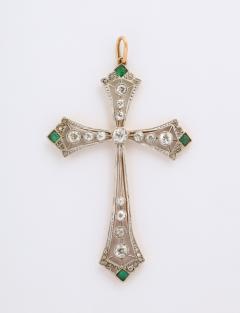 Edwardian diamond and emerald cross - 1733644