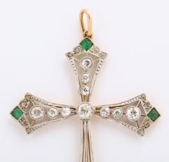 Edwardian diamond and emerald cross - 1733646