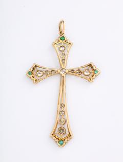Edwardian diamond and emerald cross - 1733649