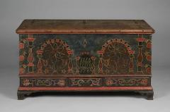 Eefa Dunkel A Berks County Pennsylvania Paint Decorated Lift Lid Chest over Drawers - 155038