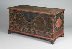 Eefa Dunkel A Berks County Pennsylvania Paint Decorated Lift Lid Chest over Drawers - 155039
