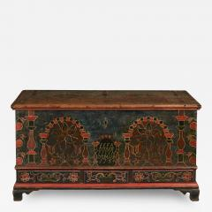 Eefa Dunkel A Berks County Pennsylvania Paint Decorated Lift Lid Chest over Drawers - 155749