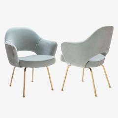 Eero Saarinen Saarinen Executive Arm Chairs in Celadon Velvet 24k Gold Edition Set of 6 - 524981