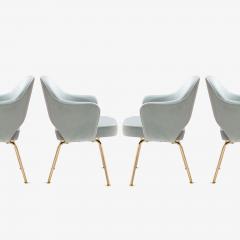 Eero Saarinen Saarinen Executive Arm Chairs in Celadon Velvet 24k Gold Edition Set of 6 - 524983