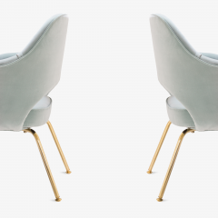 Eero Saarinen Saarinen Executive Arm Chairs in Celadon Velvet 24k Gold Edition Set of 6 - 524984