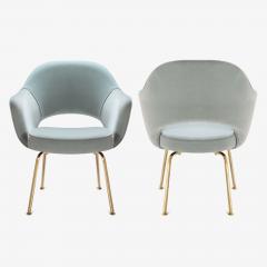 Eero Saarinen Saarinen Executive Arm Chairs in Celadon Velvet 24k Gold Edition Set of 6 - 524985