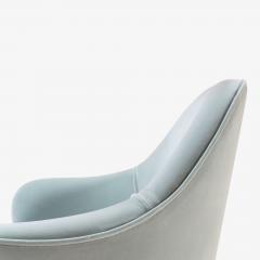 Eero Saarinen Saarinen Executive Arm Chairs in Celadon Velvet 24k Gold Edition Set of 6 - 524986