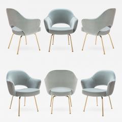 Eero Saarinen Saarinen Executive Arm Chairs in Celadon Velvet 24k Gold Edition Set of 6 - 525958