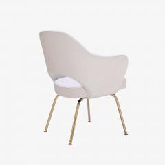 Eero Saarinen Saarinen Executive Arm Chairs in Dove Ultrasuede 24k Gold Edition Set of 6 - 306551