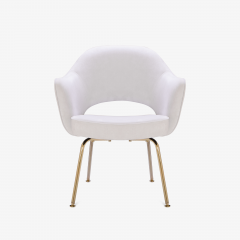 Eero Saarinen Saarinen Executive Arm Chairs in Dove Ultrasuede 24k Gold Edition Set of 6 - 306553