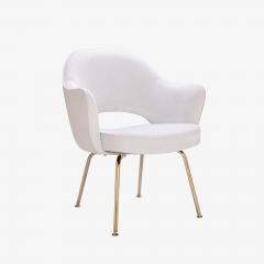 Eero Saarinen Saarinen Executive Arm Chairs in Dove Ultrasuede 24k Gold Edition Set of 6 - 306554