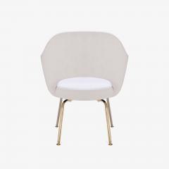 Eero Saarinen Saarinen Executive Arm Chairs in Dove Ultrasuede 24k Gold Edition Set of 6 - 306555