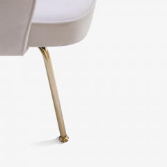 Eero Saarinen Saarinen Executive Arm Chairs in Dove Ultrasuede 24k Gold Edition Set of 6 - 306556