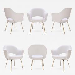 Eero Saarinen Saarinen Executive Arm Chairs in Dove Ultrasuede 24k Gold Edition Set of 6 - 307039