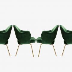 Eero Saarinen Saarinen Executive Arm Chairs in Emerald Velvet 24k Gold Edition - 524875