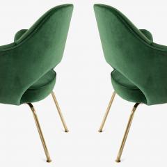 Eero Saarinen Saarinen Executive Arm Chairs in Emerald Velvet 24k Gold Edition - 524876