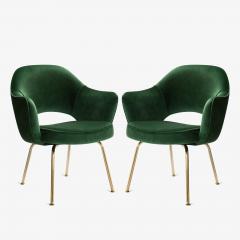 Eero Saarinen Saarinen Executive Arm Chairs in Emerald Velvet 24k Gold Edition - 524877