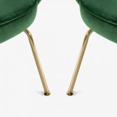 Eero Saarinen Saarinen Executive Arm Chairs in Emerald Velvet 24k Gold Edition - 524879