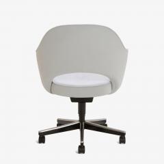 Eero Saarinen Saarinen Executive Arm Chairs in Fog Luxe Suede Swivel Base Set of 6 - 366924