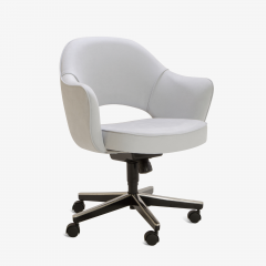Eero Saarinen Saarinen Executive Arm Chairs in Fog Luxe Suede Swivel Base Set of 6 - 366925