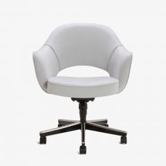 Eero Saarinen Saarinen Executive Arm Chairs in Fog Luxe Suede Swivel Base Set of 6 - 366927