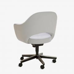 Eero Saarinen Saarinen Executive Arm Chairs in Fog Luxe Suede Swivel Base Set of 6 - 366929