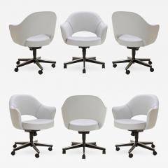 Eero Saarinen Saarinen Executive Arm Chairs in Fog Luxe Suede Swivel Base Set of 6 - 367818