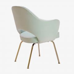 Eero Saarinen Saarinen Executive Arm Chairs in Mint Velvet 24 Karat Gold Edition Set of Six - 306660