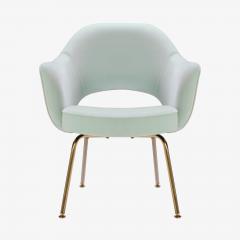 Eero Saarinen Saarinen Executive Arm Chairs in Mint Velvet 24 Karat Gold Edition Set of Six - 306661