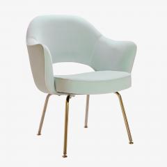Eero Saarinen Saarinen Executive Arm Chairs in Mint Velvet 24 Karat Gold Edition Set of Six - 306662