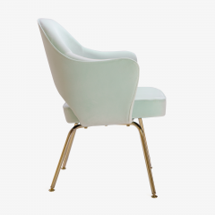 Eero Saarinen Saarinen Executive Arm Chairs in Mint Velvet 24 Karat Gold Edition Set of Six - 306663