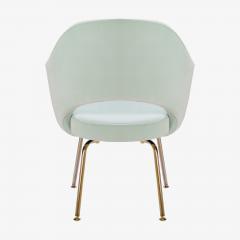 Eero Saarinen Saarinen Executive Arm Chairs in Mint Velvet 24 Karat Gold Edition Set of Six - 306664