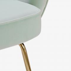 Eero Saarinen Saarinen Executive Arm Chairs in Mint Velvet 24 Karat Gold Edition Set of Six - 306667