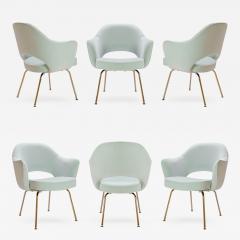 Eero Saarinen Saarinen Executive Arm Chairs in Mint Velvet 24 Karat Gold Edition Set of Six - 307625