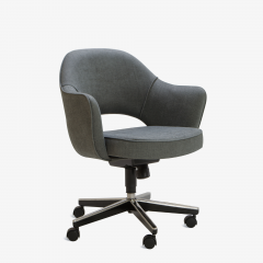 Eero Saarinen Saarinen Executive Arm Chairs in Textured Charcoal Weave Swivel Base Set of 6 - 367306
