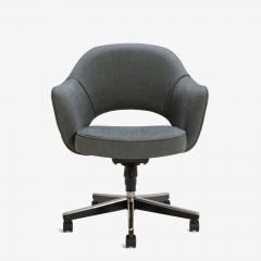 Eero Saarinen Saarinen Executive Arm Chairs in Textured Charcoal Weave Swivel Base Set of 6 - 367307